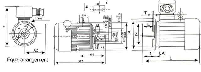 产品详细介绍 概 述 YBJ隔爆型三相异步电动要机,防爆性能按GB3836.22000爆炸性气体环境用电器设备 第二部分:防爆型d的规定,制成防爆型Exdl,适用于矿井中有瓦斯或 煤尘存在爆炸性危险场所,作为提升和牵引重物的机械设备的驱动力之用。 技术参数 绝缘等级:F级 额定电压:380/660V、660/1140V 同步转速:防护等级:IP55 频率:50HZ 工作方式:S1