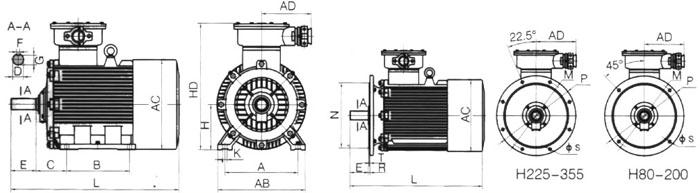 YB2防爆电机安装尺寸及外形图